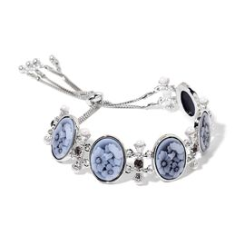 Floral Curved Cameo, Fresh Water White Pearl and Grey Austrian Crystal Adjustable Bracelet (Size 7.5) in Silver Tone