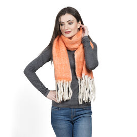 Limited Deal - Mohair Wool Blend (Mohair 25%) Neck Wrap - Orange with Tassels (Size 160x30 Cm)
