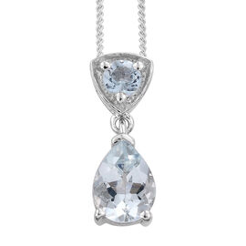 Espirito Santo Aquamarine (Pear) Pendant with Chain in Platinum Overlay Sterling Silver 1.000 Ct.
