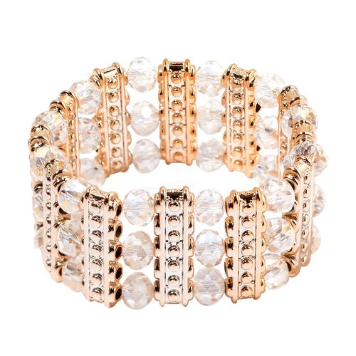 White Glass and Simulated Stones Stretchable Bracelet (Size 7.5) in Gold Tone