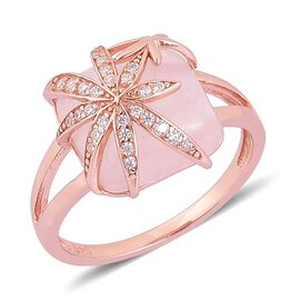 Rose Quartz and Simulated White Diamond Ring in Rose Gold Overlay Sterling Silver 5.800 Ct.