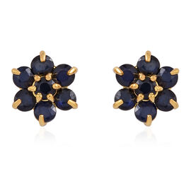 AA Kanchanaburi Blue Sapphire (Rnd) Floral Stud Earrings (with Push Back) in 14K Gold Overlay Sterling Silver 1.250 Ct.