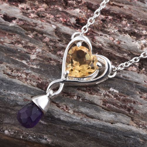 Citrine (Hrt 1.00 Ct), Amethyst Necklace (Size 18) in Platinum Overlay Sterling Silver 2.000 Ct.