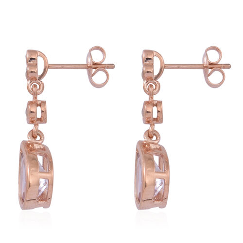 Rose De France Amethyst (Pear), White Topaz Earrings (with Push Back) in 14K Rose Gold Overlay Sterling Silver 4.000 Ct.