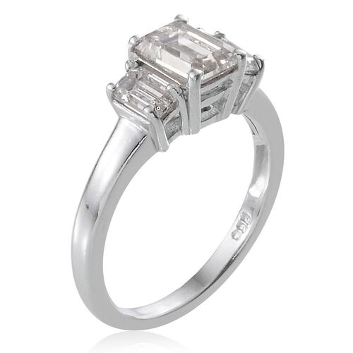 J Francis - Platinum Overlay Sterling Silver (Oct) 3 Stone Ring Made with SWAROVSKI ZIRCONIA