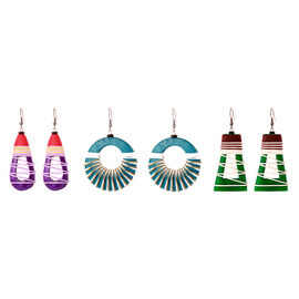 Set of 3 - Handmade Wooden Hook Earrings with Multi Coloured Cotton Thread in Stainless Steel