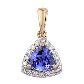 ILIANA 18K Yellow Gold AAA Tanzanite (Trl 1.00 Ct), Diamond (SI G-H) Pendant 1.250 Ct.