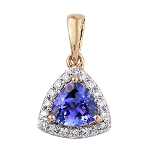 ILIANA 18K Yellow Gold 1.25 Carat AAA Tanzanite Trillion Halo Pendant, Diamond SI G-H.