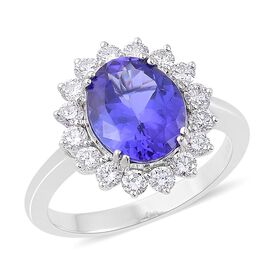 ILIANA 18K W Gold AAA Tanzanite (Ovl 3.25 Ct), Diamond Ring 4.000 Ct.