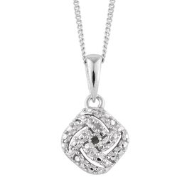 Diamond (Rnd) Pendant with Chain in Platinum Overlay Sterling Silver
