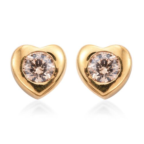 J Francis Crystal from Swarovski - Champagne Colour Crystal (Rnd) Heart Stud Earrings (with Push Back) in 14K Gold Overlay Sterling Silver