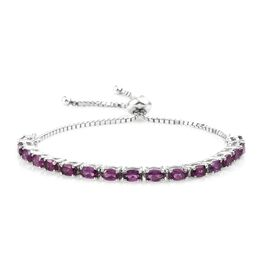 Rare Mozambique Grape Colour Garnet (Ovl) Adjustable Bracelet (Size 6 to 8 Inch) in Platinum Overlay Sterling Silver 4.750 Ct.