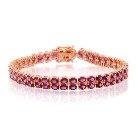 Rhodolite Garnet (Ovl) Bracelet (Size 7.5) in 14K Rose Gold Overlay Sterling Silver 20.000 Ct.
