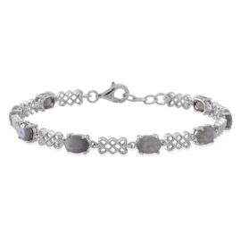 Natural Silver Sapphire (Ovl) Bracelet (Size 7.5) in Rhodium Plated Sterling Silver 10.000 Ct.