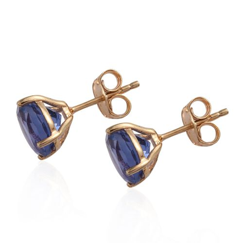 Colour Change Fluorite (Rnd) Stud Earrings in 14K Gold Overlay Sterling Silver 4.250 Ct.