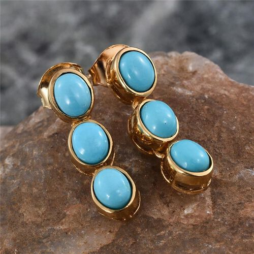 Arizona Sleeping Beauty Turquoise (Ovl) Earrings (with Push Back) in 14K Gold Overlay Sterling Silver 2.000 Ct.