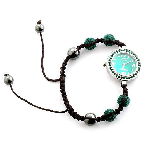 Shamballa Friendship Green Austrian Crystal, Hematite Japanese Movement Bracelet Watch (Adjustable)  30.002  Ct.