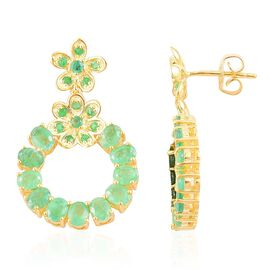 Brazilian Emerald (Ovl) Earrings (with Push Back) in Yellow Gold Overlay Sterling Silver 4.385 Ct.