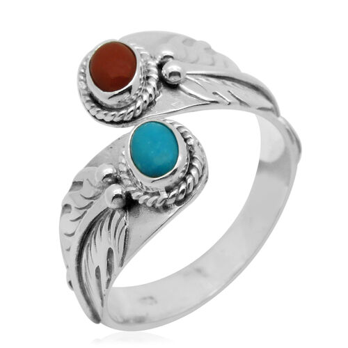 Royal Bali Collcetion Mediterranean Coral (Ovl 0.60 Ct), Arizona Sleeping Beauty Turquoise Crossover Ring in Sterling Silver 0.850 Ct.