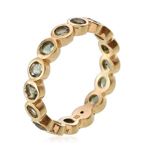 Bohemian Moldavite (Rnd) Full Eternity Ring in 14K Gold Overlay Sterling Silver 1.250 Ct.
