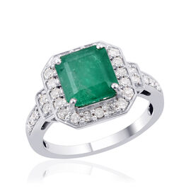 14K W Gold Boyaca Colombian Emerald (Oct 2.70 Ct), Diamond Ring 3.000 Ct.