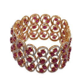 African Ruby (Rnd) Bracelet (Size 7.25) in 14K Gold Overlay Sterling Silver 55.000 Ct. Silver Weight 56.60 Grams