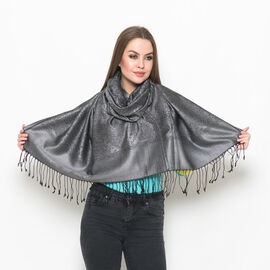 100% Superfine Silk Grey and Black Colour Paisley and Floral Pattern Jacquard Jamawar Scarf with Fringes at the Bottom (Size 180x70 Cm) (Weight 125-140 Gms)