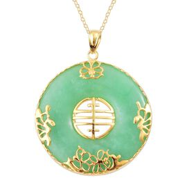 Green Jade Chinese Character FENG (Abundance) Pendant With Chain in Yellow Gold Overlay Sterling Silver 67.000 Ct.