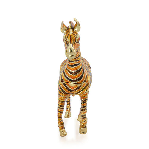 (Option 3) Brown and Yellow Colour Enameled Zebra Shape Trinket Box in Gold Tone with Simulated Red Stone