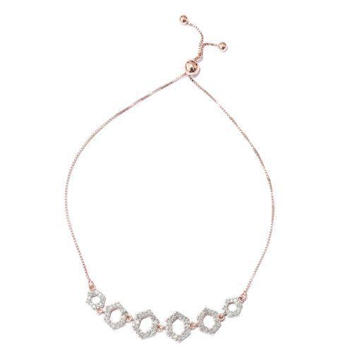 Diamond 0.50 Carat Silver Honeycomb Adjustable Bracelet in Rose Gold Overlay (Size 6.5 to 8.5)