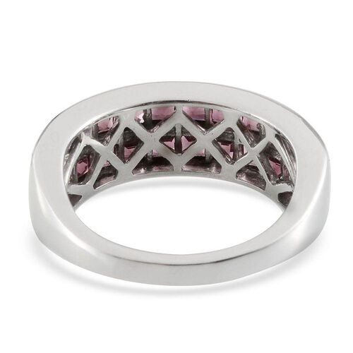 Orissa Rhodolite Garnet (Sqr) Half Eternity Band Ring in Platinum Overlay Sterling Silver 3.500 Ct.