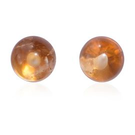 Citrine Ball Stud Earrings (with Push Back) in 14K Gold Overlay Sterling Silver 3.250 Ct.