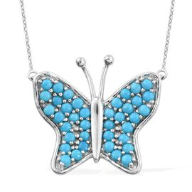AAA Arizona Sleeping Beauty Turquoise (Rnd) Butterfly Necklace (Size 18) in Platinum Overlay Sterling Silver 2.000 Ct.