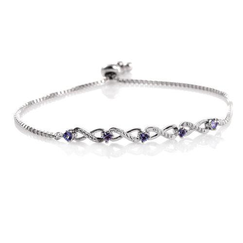 Tanzanite (Rnd) Adjustable Infinity Bracelet (Size 6.5 to 8.5) in ION Plated Platinum Bond
