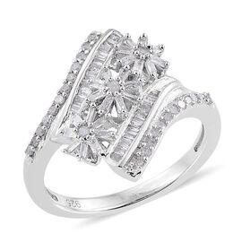 Diamond (Rnd) Triple Floral Ring in Platinum Overlay Sterling Silver 0.500 Ct.