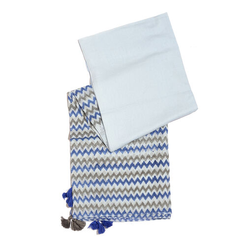 Hand Block Grey, Light and Dark Blue Colour Printed Pareo with Tassels (Size 180x100 Cm)