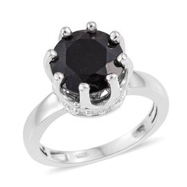 Australian Midnight Tourmaline (Rnd) Solitaire Ring in Platinum Overlay Sterling Silver 3.500 Ct.