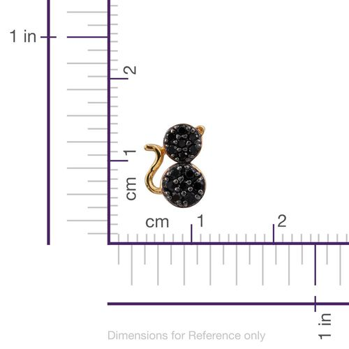 0.50 Carat Black Spinel Silver Cat Stud Earrings in Gold Overlay