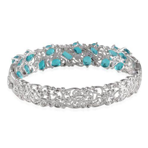 Capri Blue Quartz Bangle (Size 7.5) in Platinum Overlay Sterling Silver 15.500 Ct.