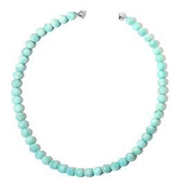 AAA Rare Size Russian Amazonite Necklace (Size 20) with Magnetic Clasp in Rhodium Plated Sterling Silver 350.00 Ct.