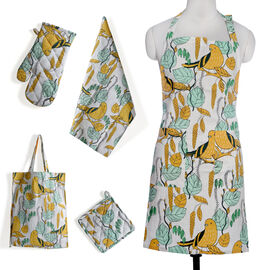 Kitchen Textiles Green, White and Yellow Colour Bird and Leaves Printed Apron (Size 75x65 Cm), Glove (32x18 Cm), Pot Holder (Size 20x20 Cm), Kitchen Towel (Size 65x40 Cm) and Bag (45x35 Cm)