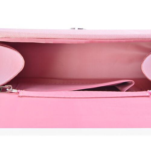 Le Rosey Pink Satin Clutch Removable Chain Strap (Size 17x12x6 Cm)
