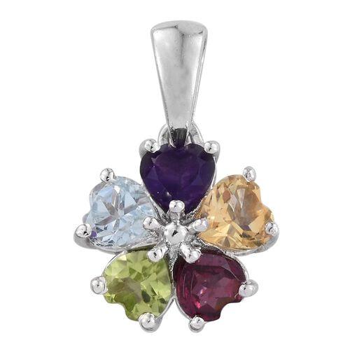 Amethyst (Hrt), Hebei Peridot, Citrine, Rhodolite Garnet and Sky Blue Topaz Floral Pendant in Platinum Overlay Sterling Silver 2.500 Ct.