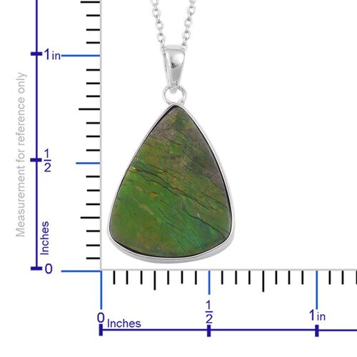 Canadian Ammolite Pendant With Chain in Rhodium Plated Sterling Silver 13.050 Ct.