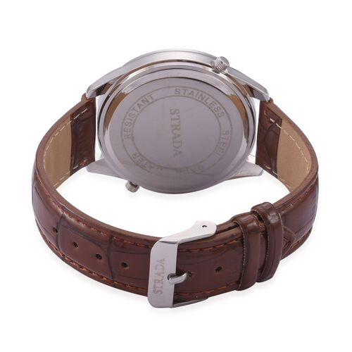 STRADA Japanese Movement White Dial Water Resistant Watch in Silver Tone with Stainless Steel Back and Chocolate Strap
