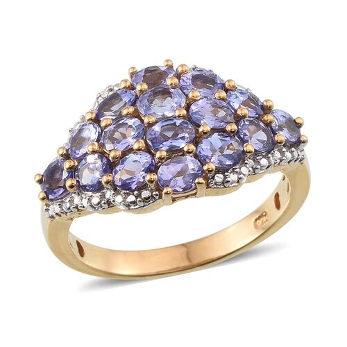 Tanzanite (Ovl), Diamond Ring in 14K Gold Overlay Sterling Silver 2.760 Ct.