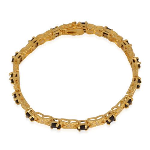 Boi Ploi Black Spinel (Ovl), Diamond Bracelet (Size 7.75) in Gold Bond 6.600 Ct.