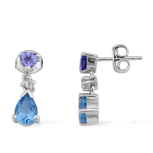 Swiss Blue Topaz (1.45 Ct),Tanzanite,White Topaz Platinum Overlay Sterling Silver Earring  2.000  Ct.