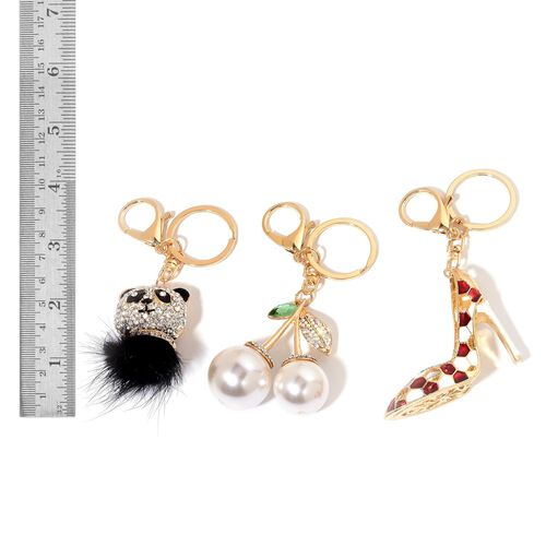 Set of 3 - White Austrian Crystal, Simulated Emerald and Simulated Pearl Bear and Sandal Enameled Key Chain in Gold Tone