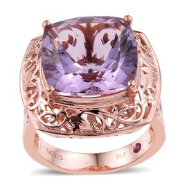 Royal Jaipur Rose De France Amethyst (Cush 9.50 Ct), Burmese Ruby Ring in Rose Gold Overlay Sterling Silver 9.530 Ct.